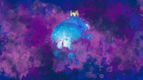 Watercolor Christmas decoration blue ball on the back-ground of colored blots GIF