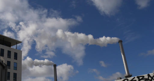 Steam of Water coming out of the Chimney of an Incinerator, Near Paris, Slow motion 4K Footage
