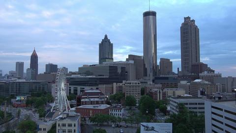 Atlanta Downtown skyline in the evening - aerial shot - ATLANTA / GEORGIA - APRI Live Action