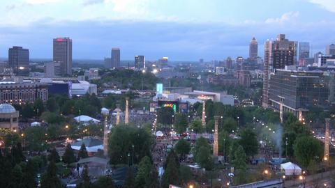 Atlanta Olympic Park and Midtown skyline in the evening - ATLANTA / GEORGIA - AP Live Action