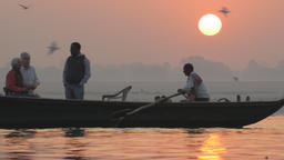 Rowing boat with indian tourists at Sunrise,Varanasi,India Footage