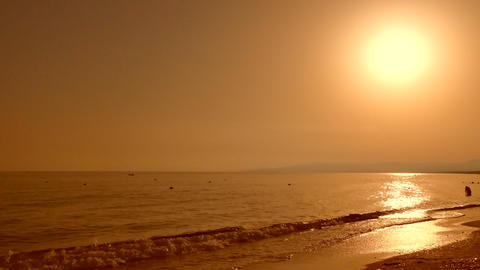 Landscape of the beach in the summer at sunset Footage