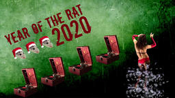 2020 year of the rat.Minimal animation design.Symbol of 2020.Invitation to a Animation