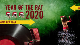 Minimal animation design.2020 year of the rat.Symbol of 2020.Invitation to a Animation