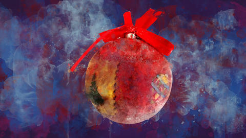 Watercolor Christmas decoration ball and bow on the background of colored blots GIF