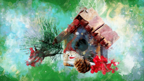 Watercolor Christmas decoration winter house on the background of colored blots GIF