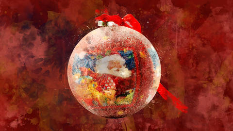 Watercolor Christmas decoration - ball with Santa on the colored background Animation