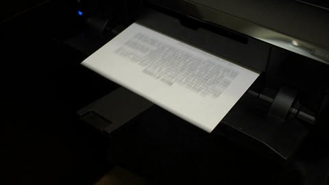 Ink printer prints the contract, document 1 Footage