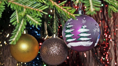 Colorful Christmas Balls Close-Up Footage