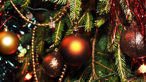 Christmas Tree Branch and Swinging Christmas Ball Footage