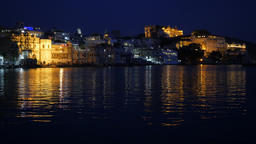 City palace in evening lights,Udaipur,India Footage