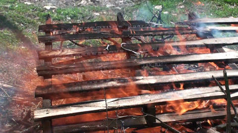 Burning wooden pallets 2 Footage