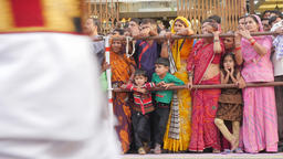 Indian spectators watch procession,Jaipur,Gangaur,India Footage
