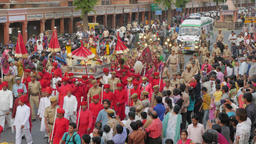 Parvati's idol is carried in procession,Jaipur,Gangaur,India Footage