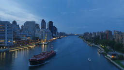 Evening Aerial View of East River from Roosevelt Island Tramway Footage