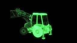 Excavator Car Wireframe Hologram Animation