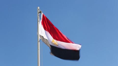 Textile flag of Egypt Footage