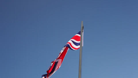 Flag of UK on a flagpole Live Action