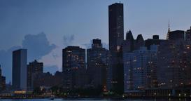 Manhattan New York City Skyline Dusk Establishing Shot Footage
