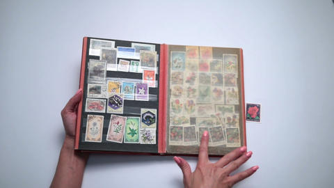 Woman looking through old stamps collection Footage