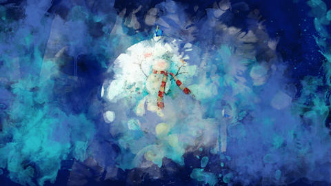 Watercolor Christmas ball with a snowman on the background of colored blots GIF