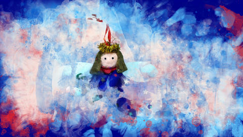Watercolor Christmas decoration toy angel on the background of colored blots Animation