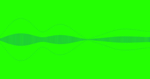 blue digital equalizer audio spectrum sound waves on chroma key green screen background, stereo ビデオ