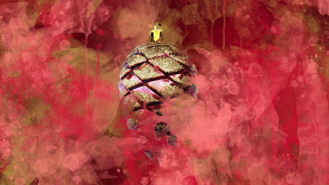 Watercolor Christmas decoration red cone on the back-ground of colored blots Animation