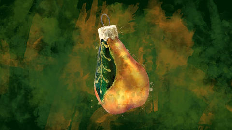 Watercolor Christmas decoration golden pear on the background of colored blots GIF