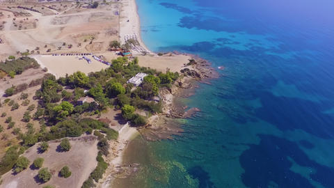 Aerial drone footage of coast with beautiful nature by... Stock Video Footage