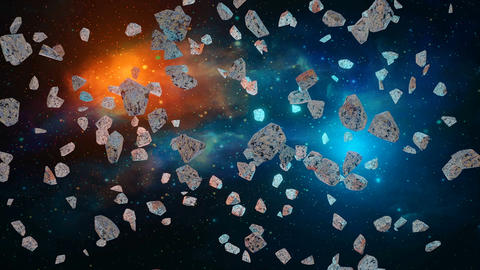 Space scene. Fly through asteroids with blue and orange light and colorful nebula. Elements Animation