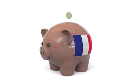 Putting money into piggy bank with flag of France. Tax system system or savings Live Action