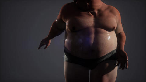 wet fat man in stidio Live Action