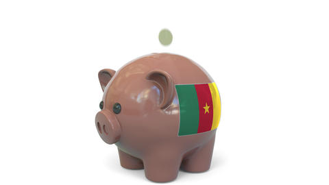 Putting money into piggy bank with flag of Cameroon. Tax system system or Live Action