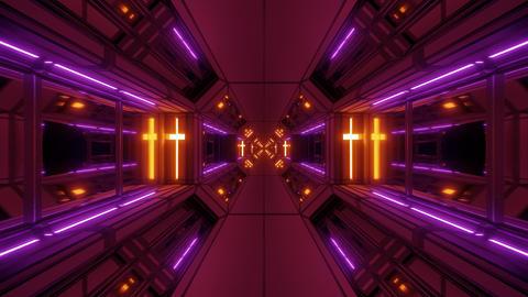futuristic sci-fi space hangar tunnel corridor with holy glowing christian cross Animation