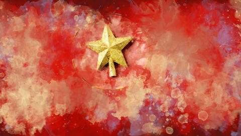 Watercolor Christmas decoration golden star on the background of colored blots GIF