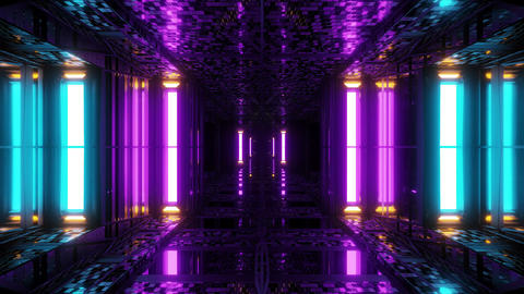 futuristic sci-fi space hangar tunnel corridor with reflective bricks texture 3d Animation