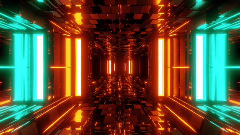 futuristic sci-fi space hangar tunnel corridor with ambient bricks texture 3d Animation