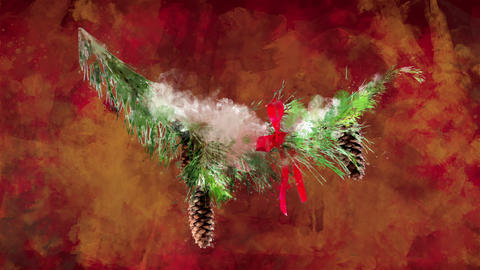 Watercolor Christmas decoration fir branch on the background of colored blots GIF