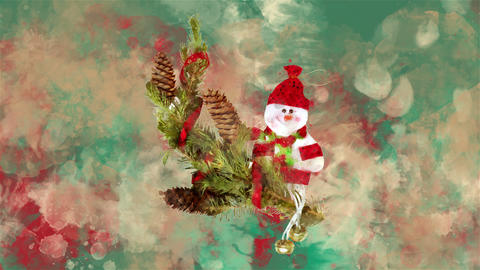 Watercolor Christmas decoration fir, snowman on the background of colored blots GIF