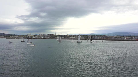 Aerial view of sailing ships and yachts in Dun Laoghaire marina harbour, Ireland Footage