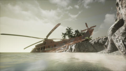 old rusted military helicopter near the island ビデオ
