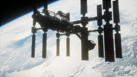 A view of the Earth and a spaceship. ISS is orbiting the Earth ビデオ
