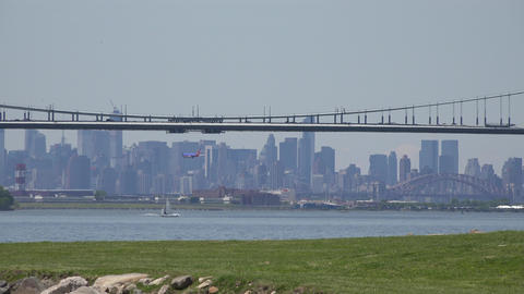 Suspension Bridge and City Skyline Footage