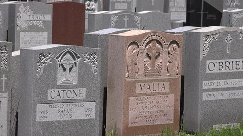 Tombstones in Graveyard or Cemetary Footage