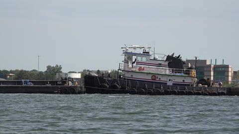 Tug Boat in Harbor Footage