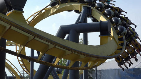Roller Coaster in Amusement Park Footage