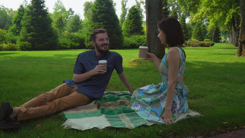 The guy with the girl sitting in the park on blankets on the lawn and drink coff Footage
