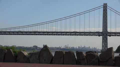 Suspension Bridge Over River Footage