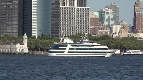 Passenger Ferry and City Buildings Live Action
